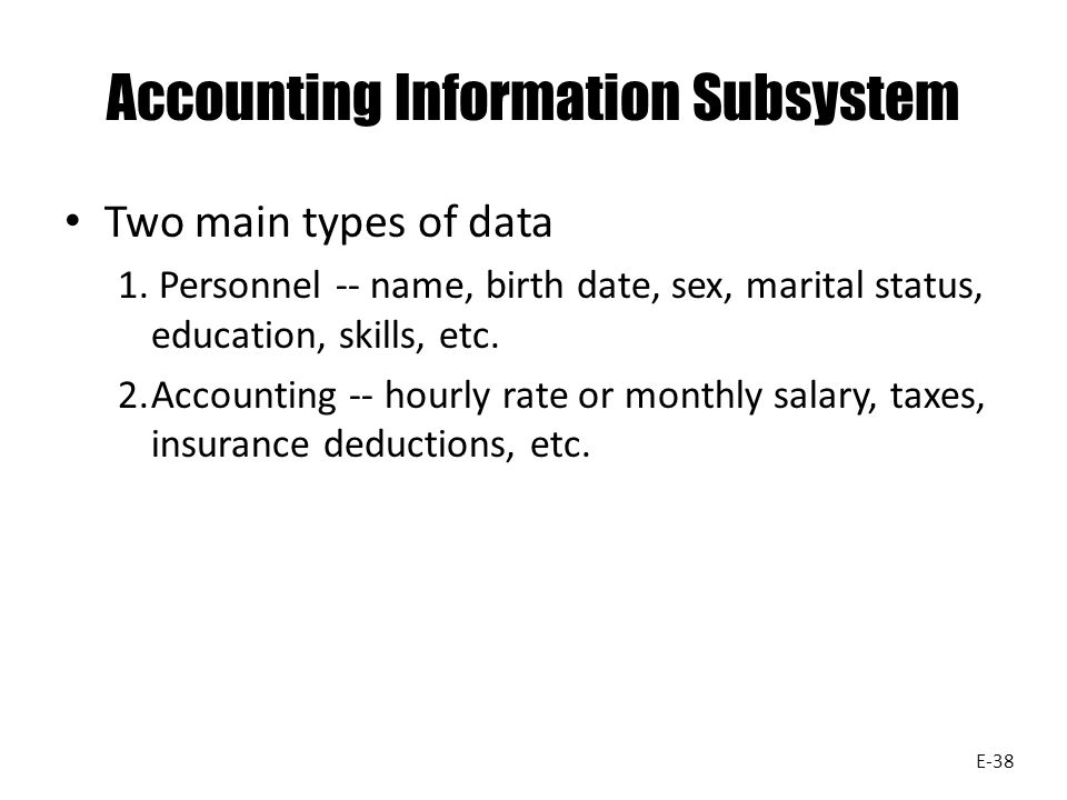Accounting Information Subsystem Two main types of data 1.