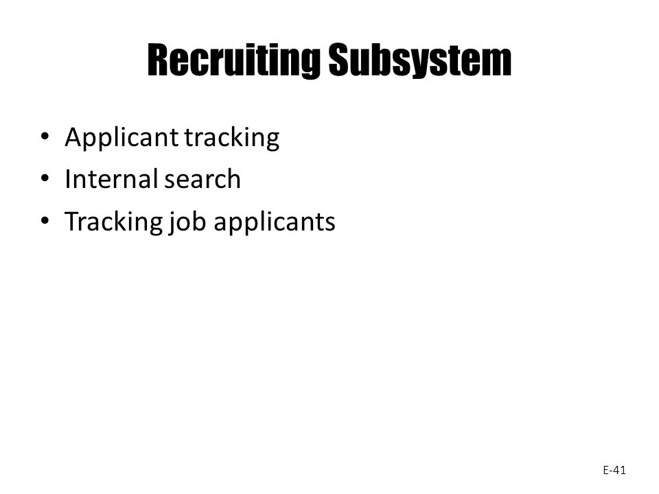 Recruiting Subsystem Applicant tracking Internal search Tracking job applicants E-41