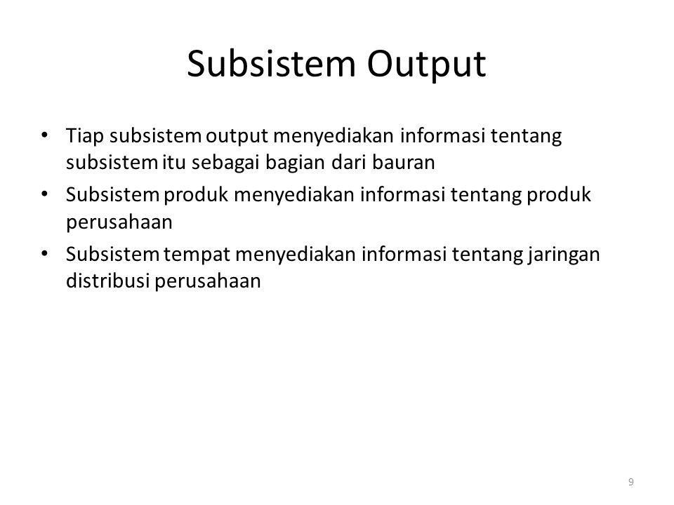 9 Subsistem Output Tiap subsistem output menyediakan informasi tentang subsistem itu sebagai bagian dari bauran Subsistem produk menyediakan informasi
