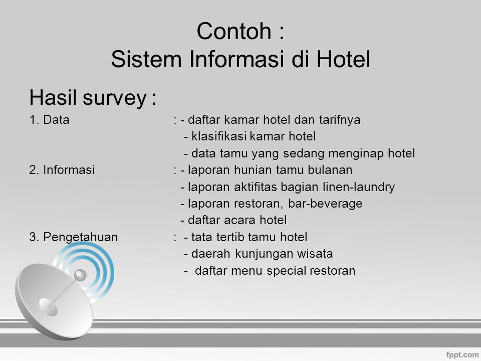 Contoh : Sistem Informasi di Hotel Hasil survey : 1.Data: - daftar kamar hotel dan tarifnya - klasifikasi kamar hotel - data tamu yang sedang menginap