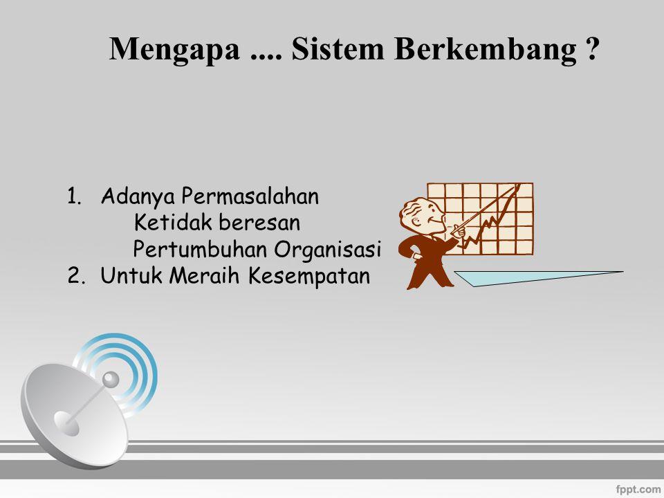 1.Adanya Permasalahan Ketidak beresan Pertumbuhan Organisasi 2.Untuk Meraih Kesempatan Mengapa.... Sistem Berkembang ?