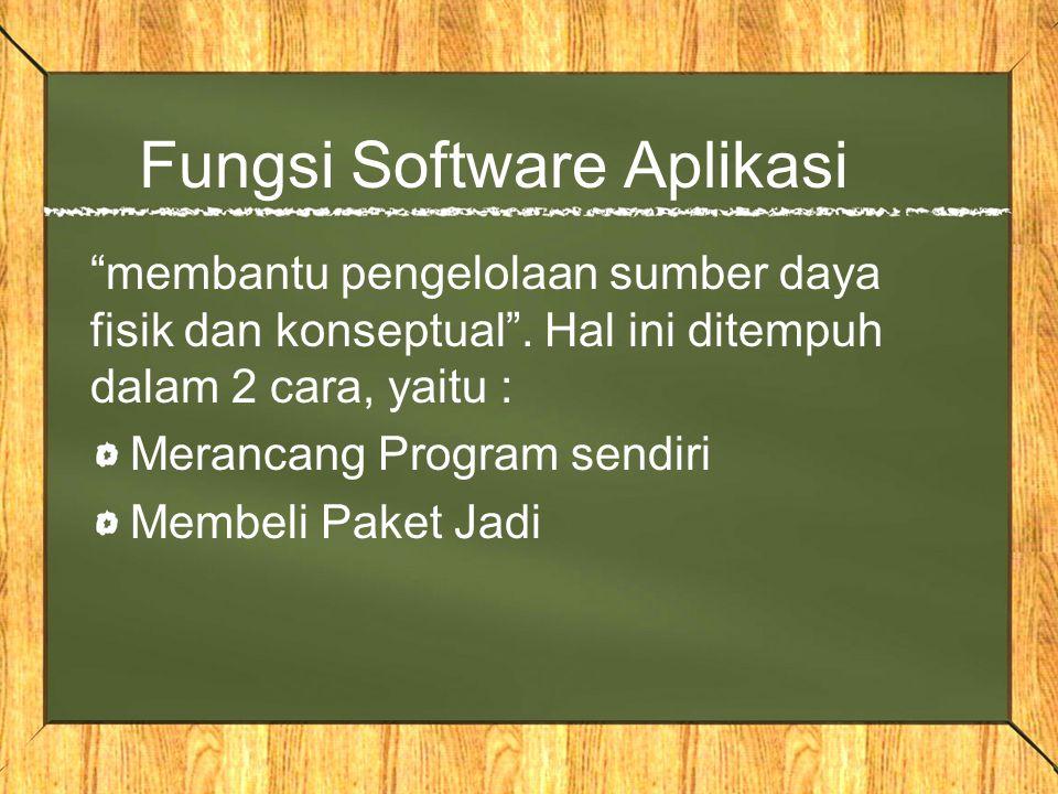 "Fungsi Software Aplikasi ""membantu pengelolaan sumber daya fisik dan konseptual"". Hal ini ditempuh dalam 2 cara, yaitu : Merancang Program sendiri Mem"
