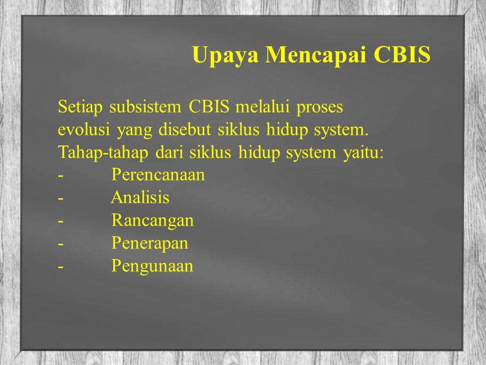 Upaya Mencapai CBIS Setiap subsistem CBIS melalui proses evolusi yang disebut siklus hidup system. Tahap-tahap dari siklus hidup system yaitu: - Peren