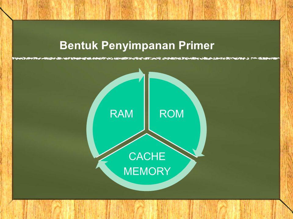 Bentuk Penyimpanan Primer ROM CACHE MEMORY RAM