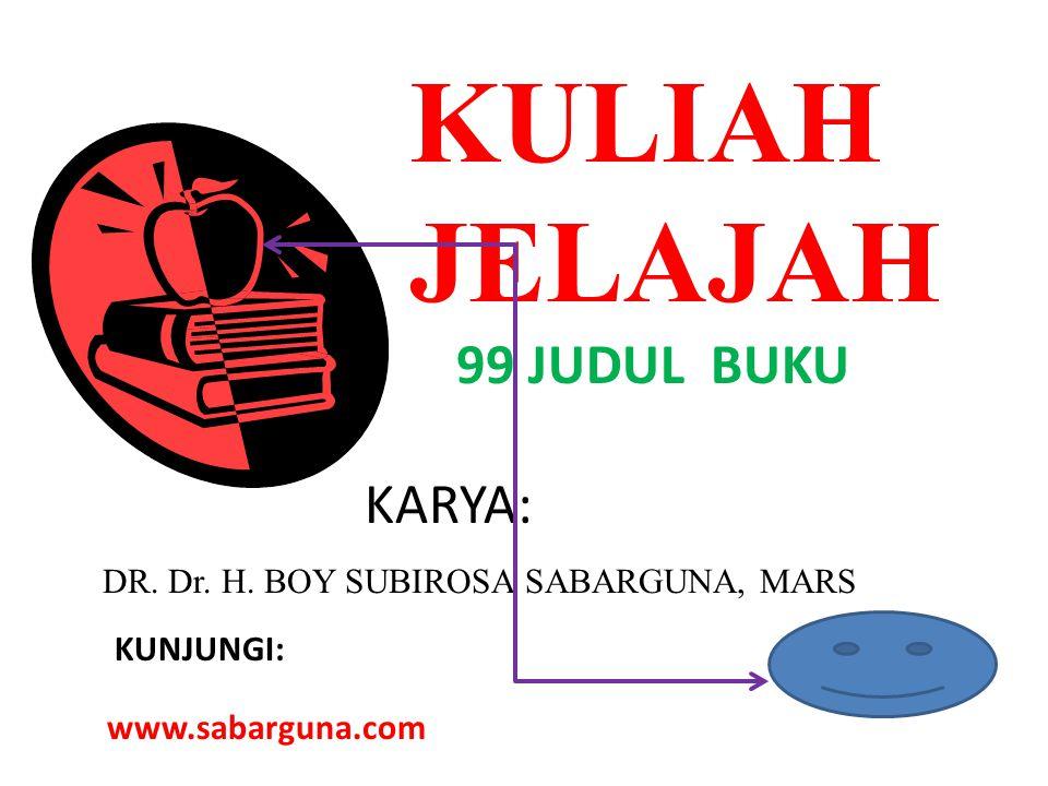 KULIAH JELAJAH 99 JUDUL BUKU KARYA: DR. Dr. H. BOY SUBIROSA SABARGUNA, MARS KUNJUNGI: www.sabarguna.com