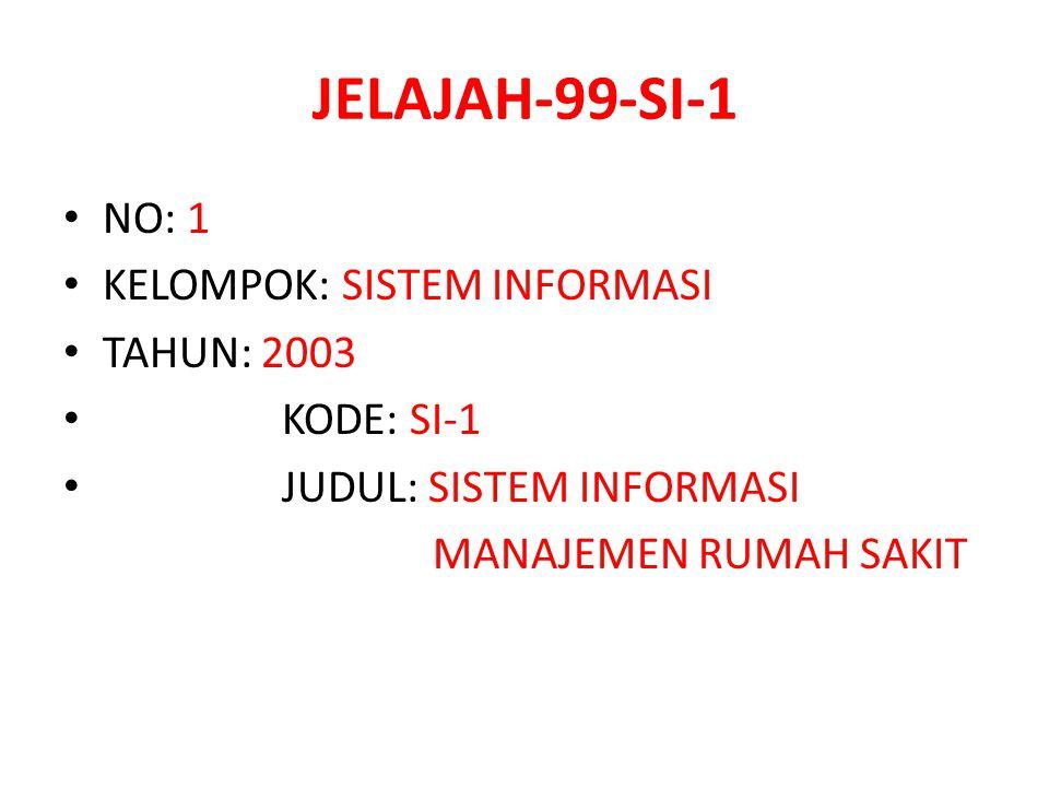 JELAJAH-99-SI-1 NO: 1 KELOMPOK: SISTEM INFORMASI TAHUN: 2003 KODE: SI-1 JUDUL: SISTEM INFORMASI MANAJEMEN RUMAH SAKIT