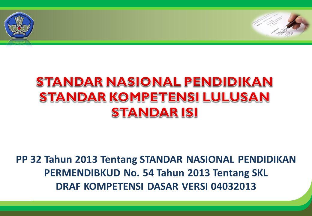 Click to edit Master title style PP 32 Tahun 2013 Tentang STANDAR NASIONAL PENDIDIKAN PERMENDIBKUD No. 54 Tahun 2013 Tentang SKL DRAF KOMPETENSI DASAR