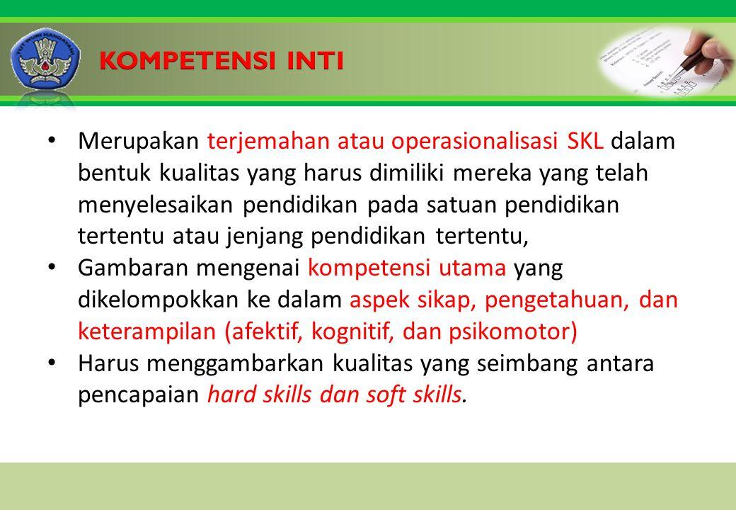 Click to edit Master title style Merupakan terjemahan atau operasionalisasi SKL dalam bentuk kualitas yang harus dimiliki mereka yang telah menyelesaikan pendidikan pada satuan pendidikan tertentu atau jenjang pendidikan tertentu, Gambaran mengenai kompetensi utama yang dikelompokkan ke dalam aspek sikap, pengetahuan, dan keterampilan (afektif, kognitif, dan psikomotor) Harus menggambarkan kualitas yang seimbang antara pencapaian hard skills dan soft skills.