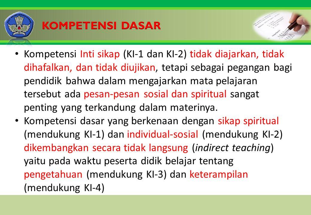 Click to edit Master title style Kompetensi Inti sikap (KI-1 dan KI-2) tidak diajarkan, tidak dihafalkan, dan tidak diujikan, tetapi sebagai pegangan