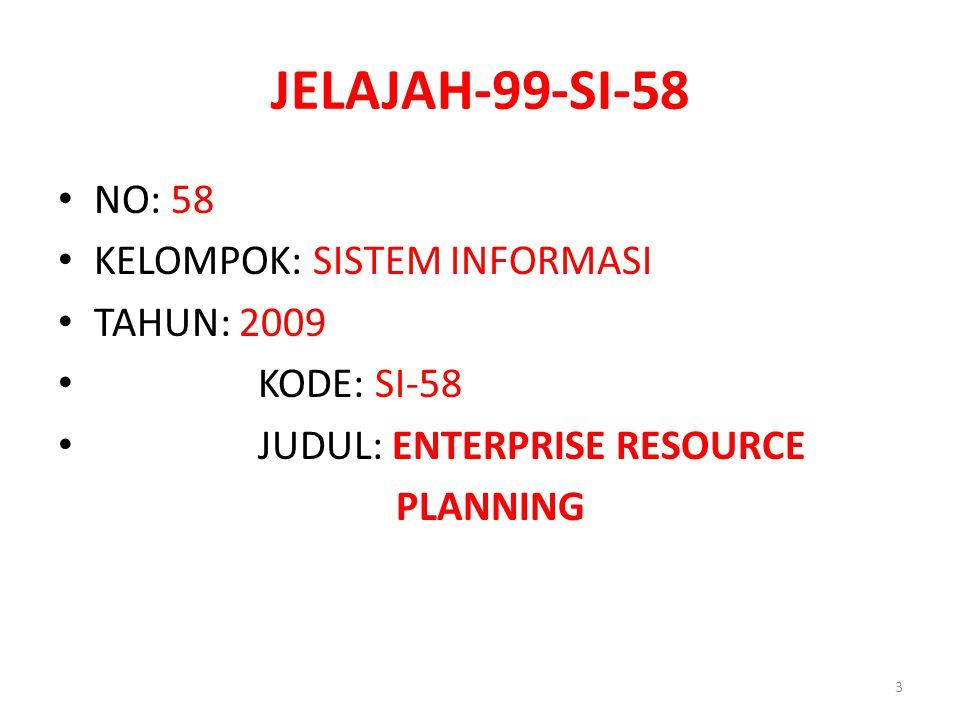 JELAJAH-99-SI-58 NO: 58 KELOMPOK: SISTEM INFORMASI TAHUN: 2009 KODE: SI-58 JUDUL: ENTERPRISE RESOURCE PLANNING 3