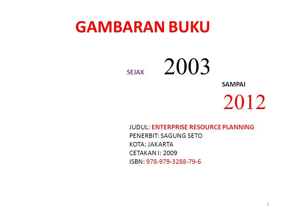 GAMBARAN BUKU SEJAK 2003 SAMPAI 2012 JUDUL: ENTERPRISE RESOURCE PLANNING PENERBIT: SAGUNG SETO KOTA: JAKARTA CETAKAN I: 2009 ISBN: 978-979-3288-79-6 4