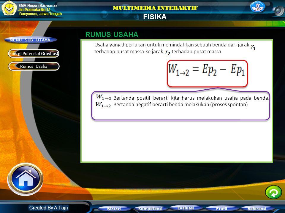 Energi potensial gravitasi suatu benda m terhadap benda bermassa M adalah usaha yang diperlukan untuk memindahkan suatu benda bermassa m dari pusat ma