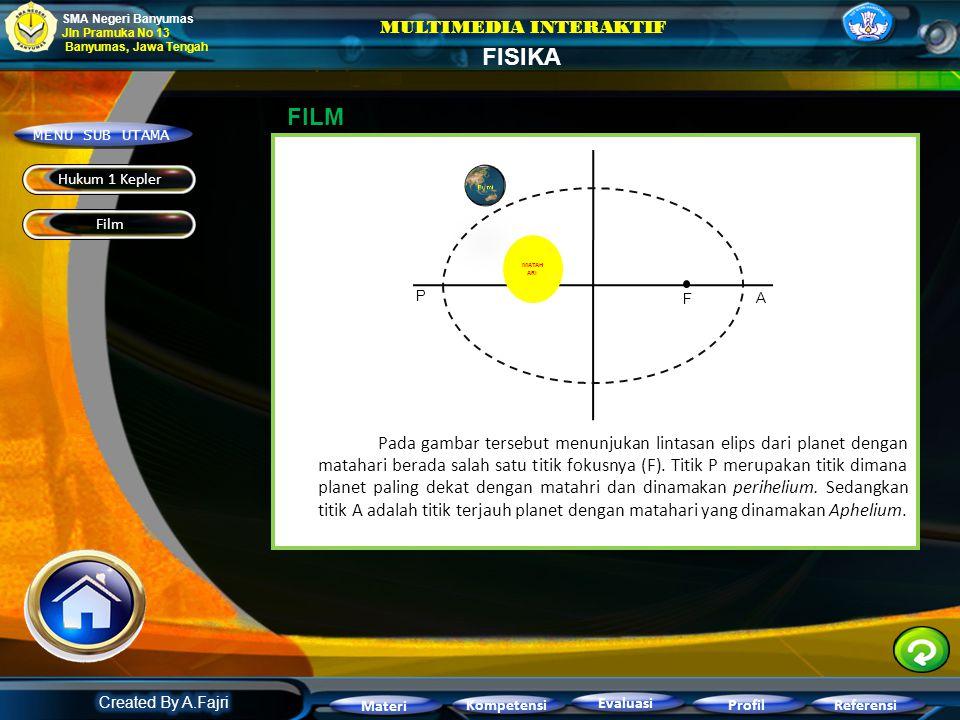 "Hukum pertama keppler atau dikenal sebagai hukum lintasan elips berbunyi: ""Semua planet bergerak pada lintasan elips mengitari Matahari, dengan Mataha"