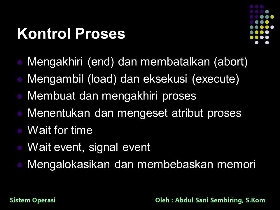 16 Kontrol Proses Mengakhiri (end) dan membatalkan (abort) Mengambil (load) dan eksekusi (execute) Membuat dan mengakhiri proses Menentukan dan mengeset atribut proses Wait for time Wait event, signal event Mengalokasikan dan membebaskan memori