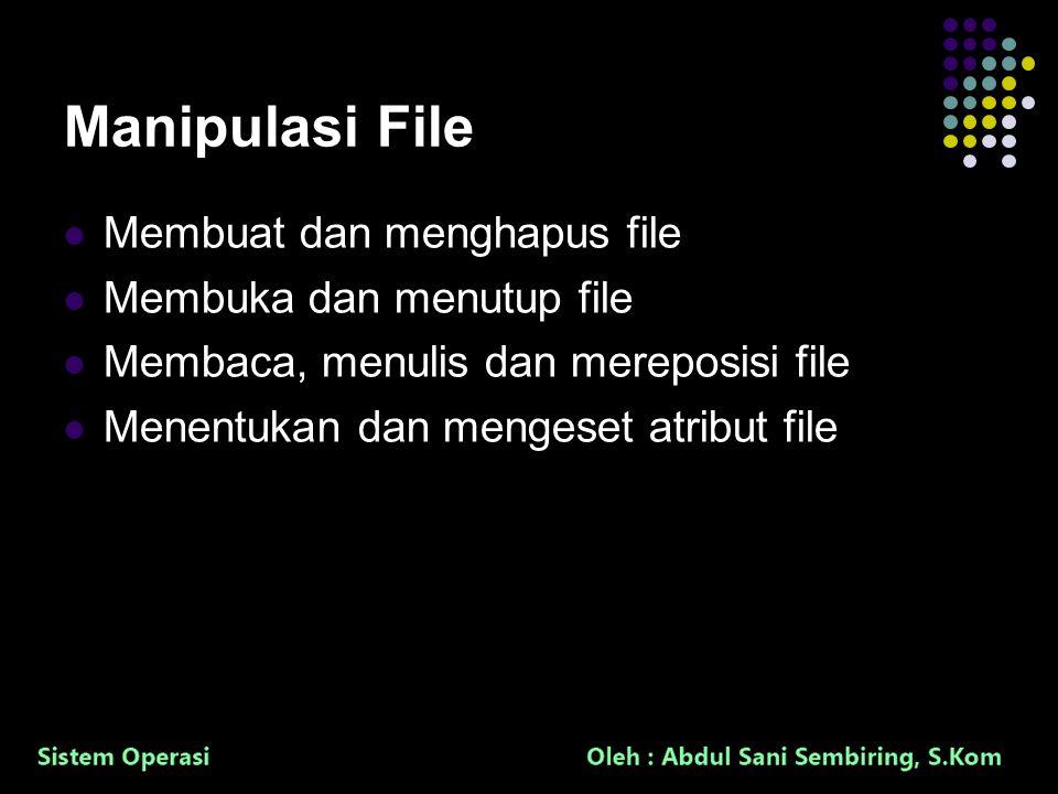 19 Manipulasi File Membuat dan menghapus file Membuka dan menutup file Membaca, menulis dan mereposisi file Menentukan dan mengeset atribut file
