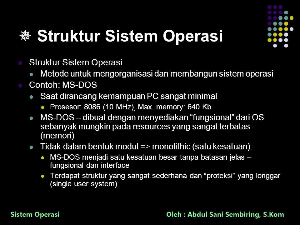25  Struktur Sistem Operasi Struktur Sistem Operasi Metode untuk mengorganisasi dan membangun sistem operasi Contoh: MS-DOS Saat dirancang kemampuan PC sangat minimal Prosesor: 8086 (10 MHz), Max.