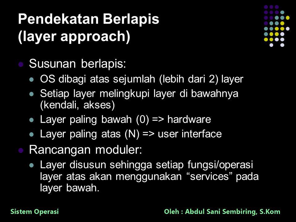 30 Pendekatan Berlapis (layer approach) Susunan berlapis: OS dibagi atas sejumlah (lebih dari 2) layer Setiap layer melingkupi layer di bawahnya (kendali, akses) Layer paling bawah (0) => hardware Layer paling atas (N) => user interface Rancangan moduler: Layer disusun sehingga setiap fungsi/operasi layer atas akan menggunakan services pada layer bawah.