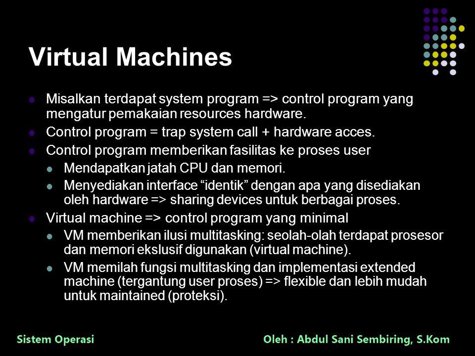33 Virtual Machines Misalkan terdapat system program => control program yang mengatur pemakaian resources hardware. Control program = trap system call