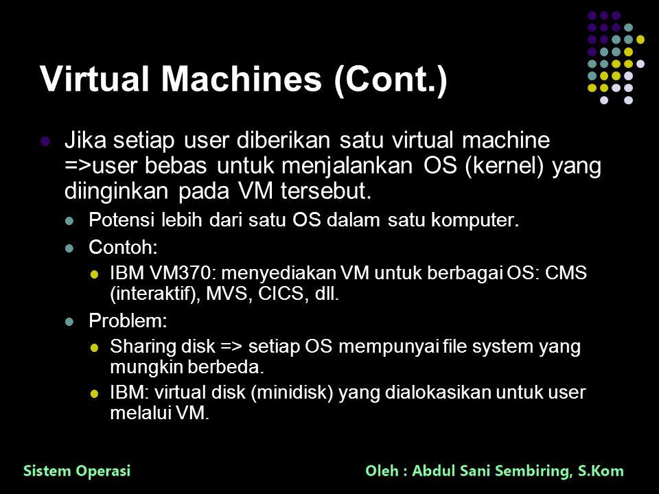 35 Virtual Machines (Cont.) Jika setiap user diberikan satu virtual machine =>user bebas untuk menjalankan OS (kernel) yang diinginkan pada VM tersebu