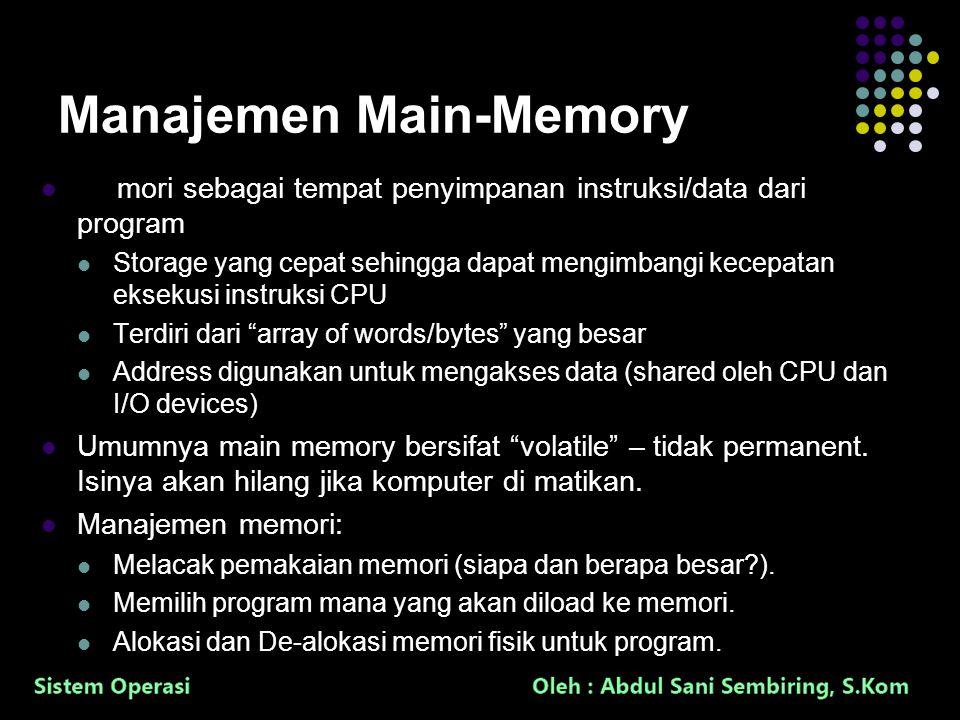 5 Manajemen Main-Memory Memori sebagai tempat penyimpanan instruksi/data dari program Storage yang cepat sehingga dapat mengimbangi kecepatan eksekusi instruksi CPU Terdiri dari array of words/bytes yang besar Address digunakan untuk mengakses data (shared oleh CPU dan I/O devices) Umumnya main memory bersifat volatile – tidak permanent.
