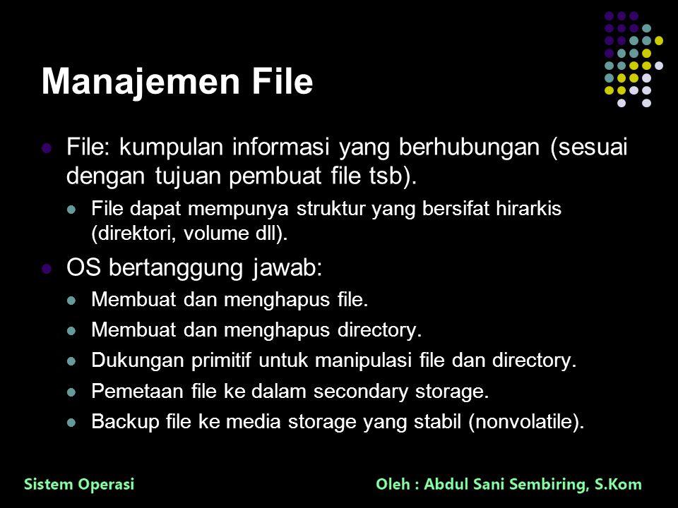 8 Manajemen File File: kumpulan informasi yang berhubungan (sesuai dengan tujuan pembuat file tsb). File dapat mempunya struktur yang bersifat hirarki