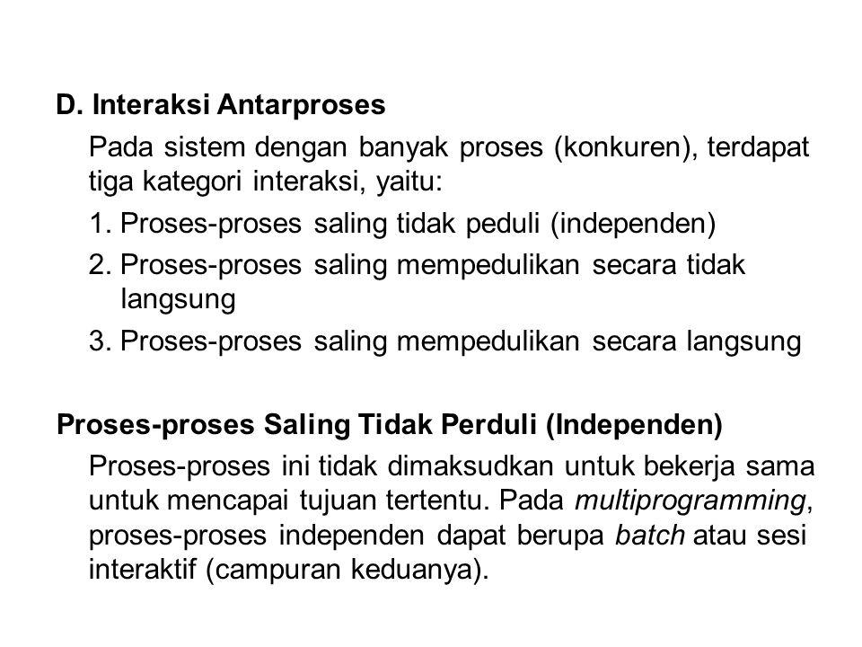 D. Interaksi Antarproses Pada sistem dengan banyak proses (konkuren), terdapat tiga kategori interaksi, yaitu: 1. Proses-proses saling tidak peduli (i