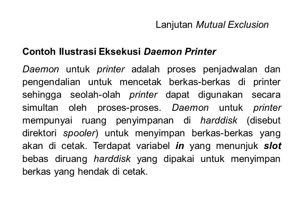 Contoh Ilustrasi Eksekusi Daemon Printer Daemon untuk printer adalah proses penjadwalan dan pengendalian untuk mencetak berkas-berkas di printer sehin