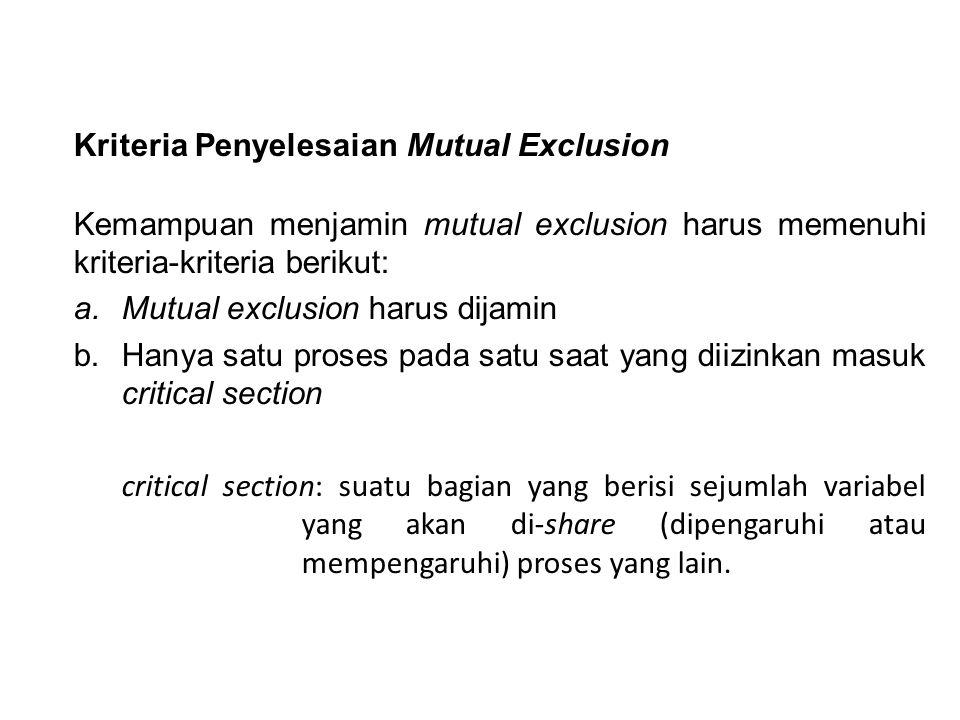 Kriteria Penyelesaian Mutual Exclusion Kemampuan menjamin mutual exclusion harus memenuhi kriteria-kriteria berikut: a.Mutual exclusion harus dijamin