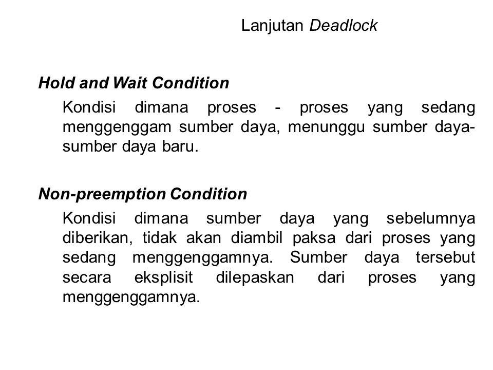 Hold and Wait Condition Kondisi dimana proses - proses yang sedang menggenggam sumber daya, menunggu sumber daya- sumber daya baru. Non-preemption Con