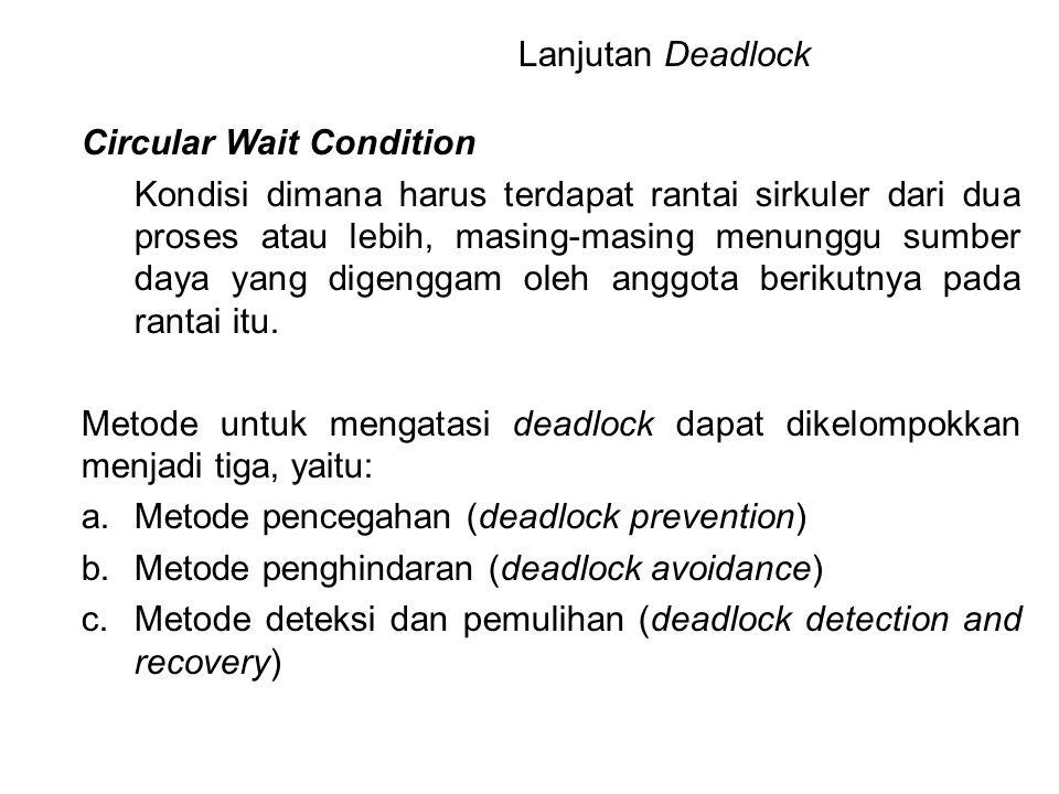 Circular Wait Condition Kondisi dimana harus terdapat rantai sirkuler dari dua proses atau lebih, masing-masing menunggu sumber daya yang digenggam ol