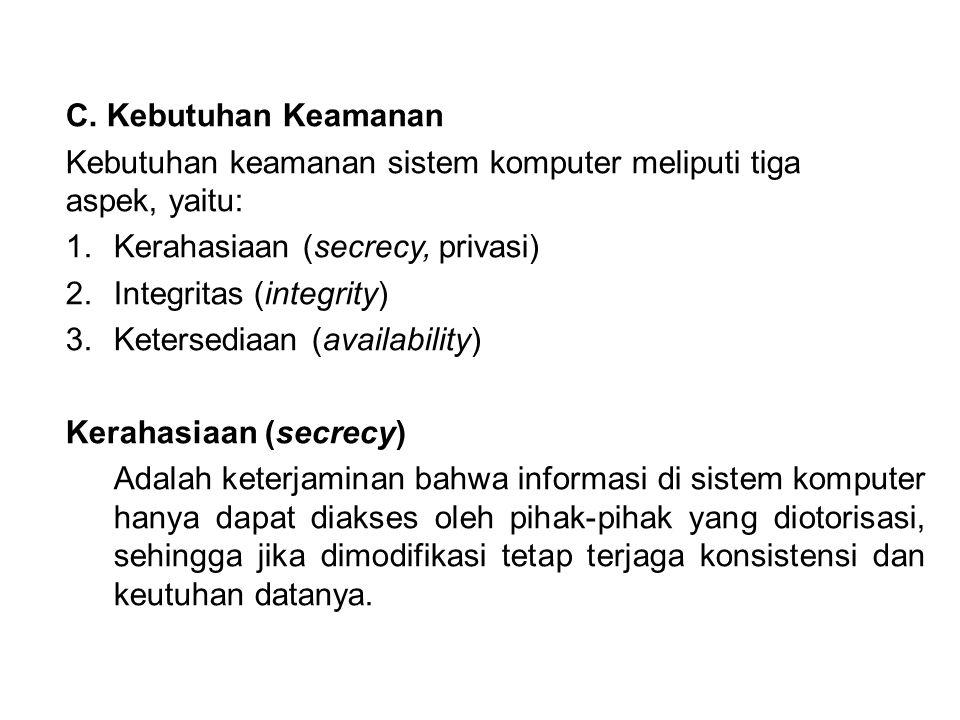 C. Kebutuhan Keamanan Kebutuhan keamanan sistem komputer meliputi tiga aspek, yaitu: 1.Kerahasiaan (secrecy, privasi) 2.Integritas (integrity) 3.Keter