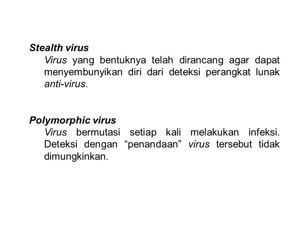 Stealth virus Virus yang bentuknya telah dirancang agar dapat menyembunyikan diri dari deteksi perangkat lunak anti-virus. Polymorphic virus Virus ber