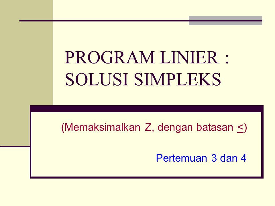 Metode Simpleks Merupakan metode yang umum digunakan untuk menyelesaikan seluruh problem program linier, baik yang melibatkan dua variabel keputusan maupun lebih dari dua variabel keputusan.