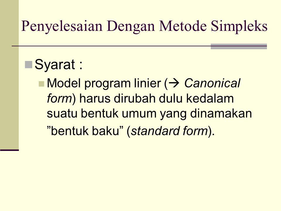 dengan menambahkan slack variable, menjadi: X1 + X2 < 4  X1 + X2 + S1 = 4 X1 - X2 < 6  X1 - X2 + S2 = 6 Setelah ditambahkan slack variable, maka fungsi tujuan menjadi : Min Z = 2 X1 - 3 X2 + 0 S1 + 0 S2