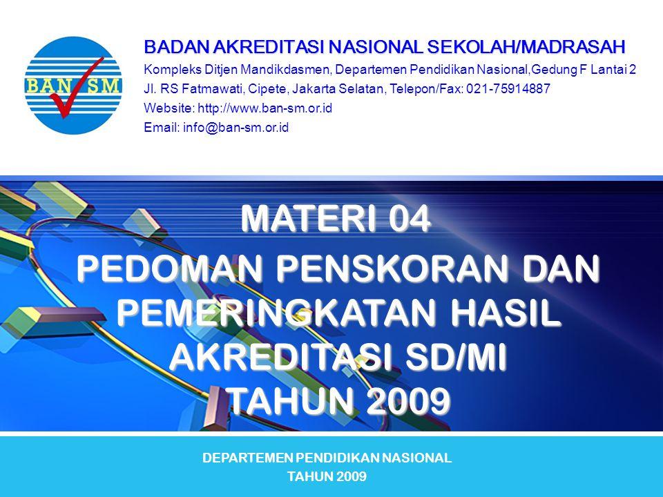 Kriteria Status Akreditasi dan Pemeringkatan Hasil Akreditasi (lanjutan) Kriteria Status Akreditasi dan Pemeringkatan Hasil Akreditasi (lanjutan) Pemeringkatan Hasil Akreditasi Sekolah/Madrasah memperoleh peringkat akreditasi sebagai berikut.