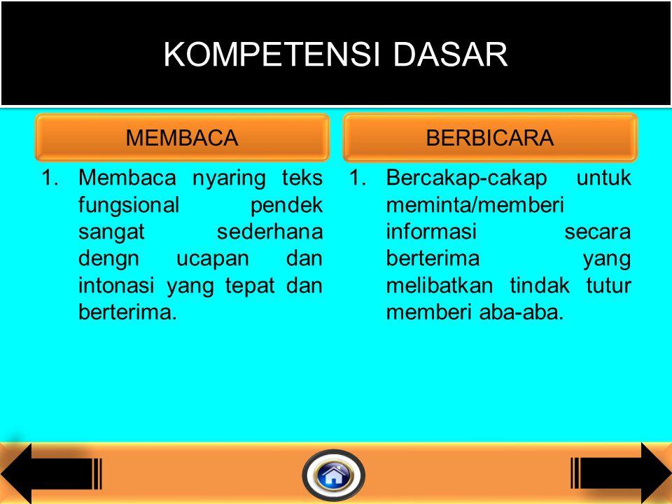 1.Membaca nyaring teks fungsional pendek sangat sederhana dengn ucapan dan intonasi yang tepat dan berterima.