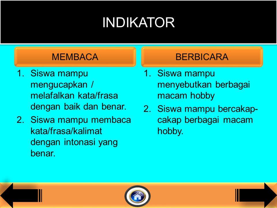 1.Siswa mampu mengucapkan / melafalkan kata/frasa dengan baik dan benar.