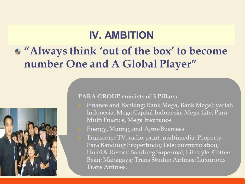 11 IV. AMBITION PARA GROUP consists of 3 Pillars: Finance and Banking: Bank Mega, Bank Mega Syariah Indonesia, Mega Capital Indonesia, Mega Life, Para
