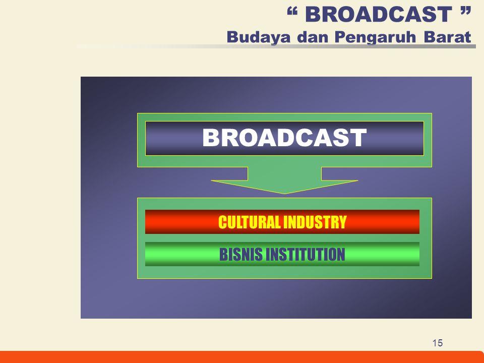 """15 """" BROADCAST """" Budaya dan Pengaruh Barat CULTURAL INDUSTRY BISNIS INSTITUTION BROADCAST"""
