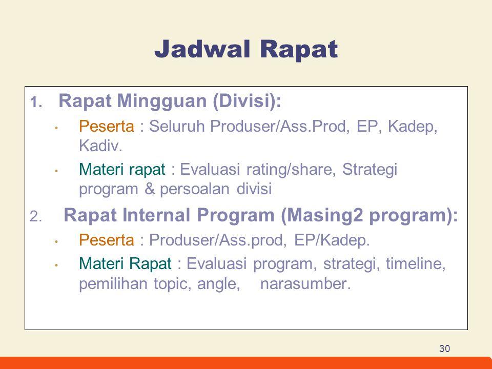 30 Jadwal Rapat 1. Rapat Mingguan (Divisi): Peserta : Seluruh Produser/Ass.Prod, EP, Kadep, Kadiv. Materi rapat : Evaluasi rating/share, Strategi prog