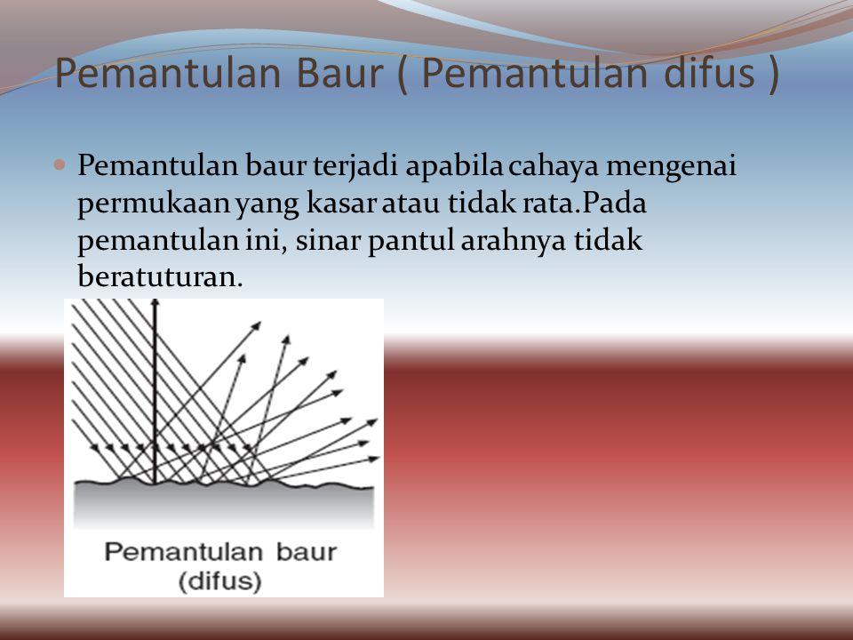 Pemantulan Baur ( Pemantulan difus ) Pemantulan baur terjadi apabila cahaya mengenai permukaan yang kasar atau tidak rata.Pada pemantulan ini, sinar pantul arahnya tidak beratuturan.