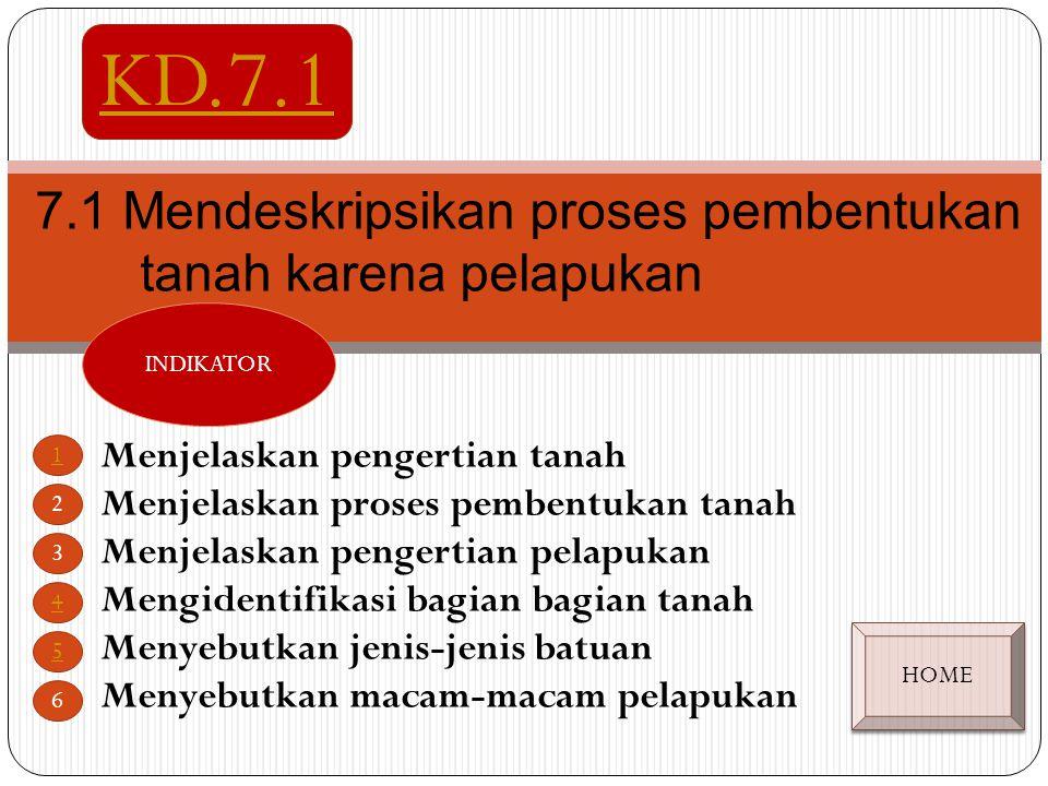 Mendeskripsikan proses pembentukan tanah karena pelapukan SK. 7 KD. 7.1KD.7.4KD. 7.2KD. 7.3 KEMENTERIAN AGAMA PROVINSI JAWA TENGAH