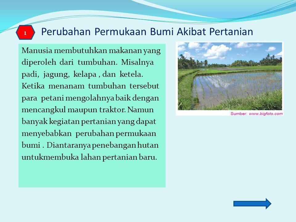 Kegiatan Manusia yang Mengubah Permukaan Bumi untuk Memenuhi Kebutuhannya Tanah merupakan salah satu sumber daya alam yang dapat dimanfaatkan untuk pertanian.
