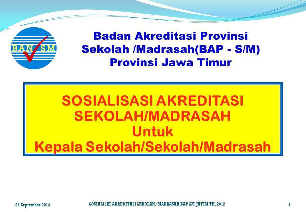 SOSIALISASI AKREDITASI SEKOLAH/MADRASAH Untuk Kepala Sekolah/Sekolah/Madrasah Badan Akreditasi Provinsi Sekolah /Madrasah(BAP - S/M) Provinsi Jawa Tim