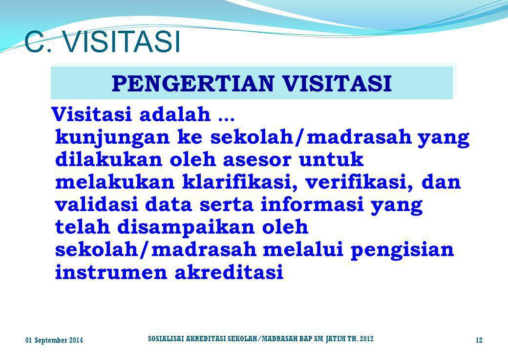 Visitasi adalah … kunjungan ke sekolah/madrasah yang dilakukan oleh asesor untuk melakukan klarifikasi, verifikasi, dan validasi data serta informasi