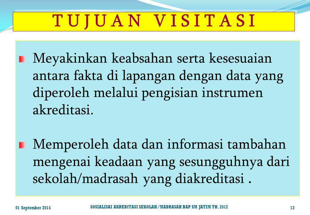 T U J U A N V I S I T A S I Meyakinkan keabsahan serta kesesuaian antara fakta di lapangan dengan data yang diperoleh melalui pengisian instrumen akre