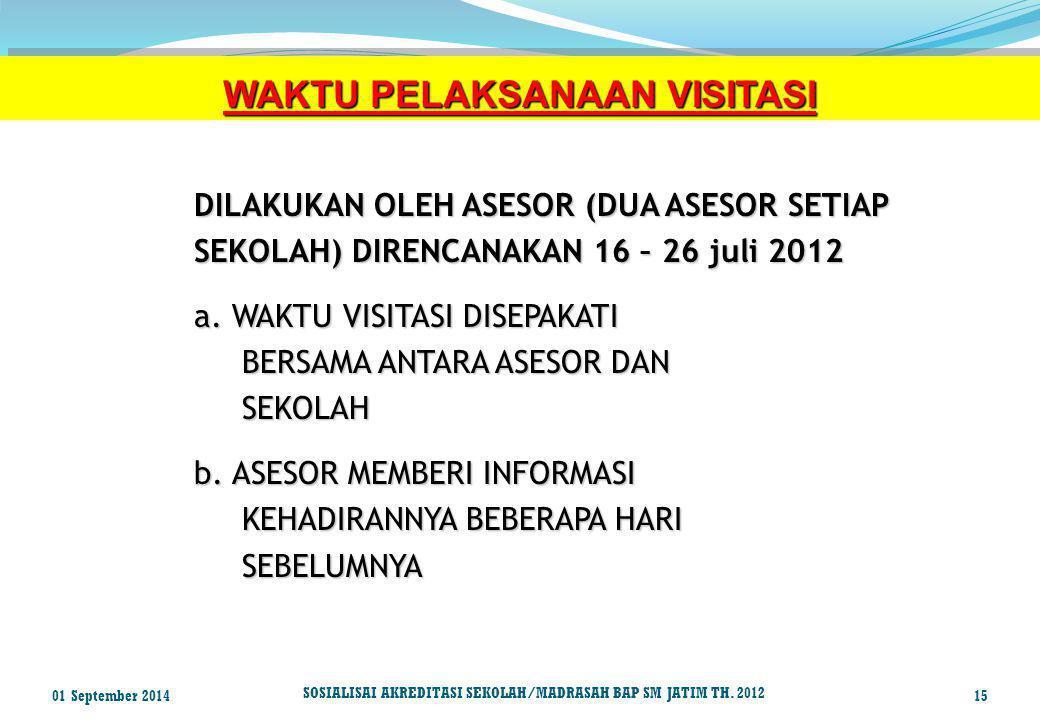 WAKTU PELAKSANAAN VISITASI DILAKUKAN OLEH ASESOR (DUA ASESOR SETIAP SEKOLAH) DIRENCANAKAN 16 – 26 juli 2012 a. WAKTU VISITASI DISEPAKATI BERSAMA ANTAR