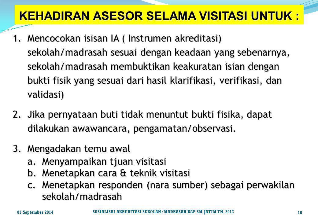 KEHADIRAN ASESOR SELAMA VISITASI UNTUK : 1.Mencocokan isisan IA ( Instrumen akreditasi) sekolah/madrasah sesuai dengan keadaan yang sebenarnya, sekola