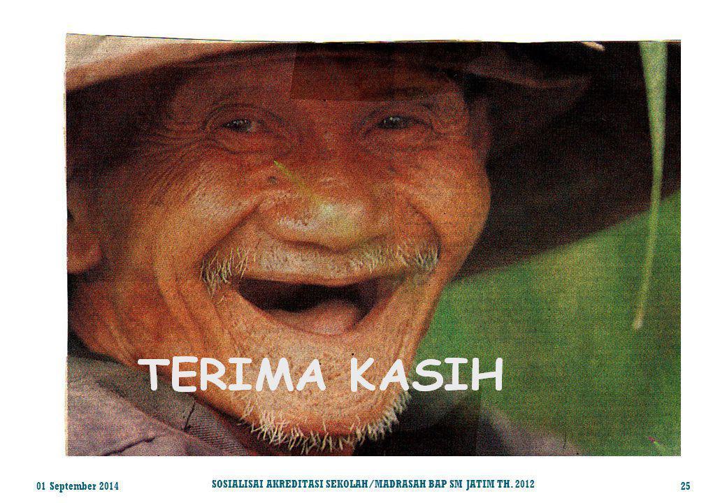 01 September 201425 SOSIALISAI AKREDITASI SEKOLAH/MADRASAH BAP SM JATIM TH. 2012