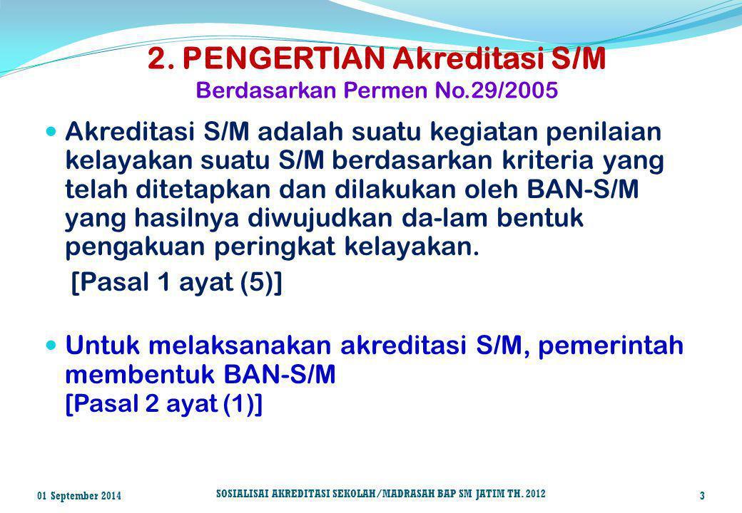 2. PENGERTIAN Akreditasi S/M Berdasarkan Permen No.29/2005 Akreditasi S/M adalah suatu kegiatan penilaian kelayakan suatu S/M berdasarkan kriteria yan